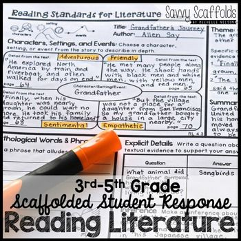 Standards based student response with graphic organizers for ANY text!Do your students need independent practice that reinforces your instruction of CCSS? This resource integrates all eight 3rd, 4th and 5th Grade ELA Common Core Reading Standards for Literature into ANY text.