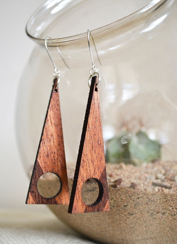 Laser Cut Mahogany Wood Earrings. $25,00, via Etsy.