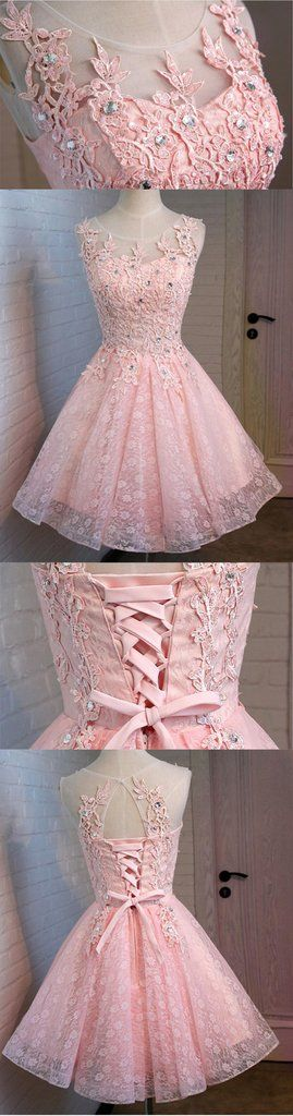Pink Open Back Lace Beaded Cute Homecoming Prom Dresses, Affordable Sh – LoverBridal