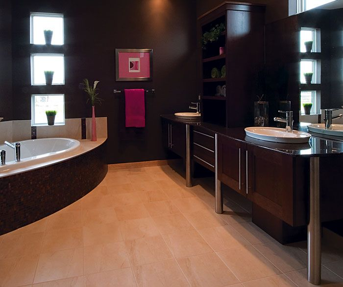 kitchencraft contemporary bathroom using maple wood and a cappuccino