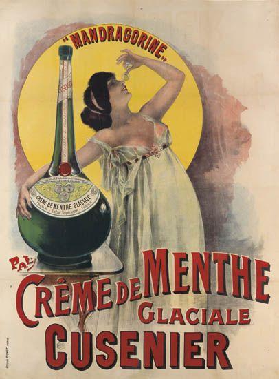 Crème de menthe glaciale - Cusenier - Mandragorine - illustration de Pal (Jean de Paleologue) - France -
