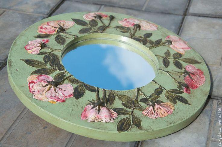 Купить Английский сад. Зеркало. - оливковый, розы, сад, садовые цветы, зеркало настенное