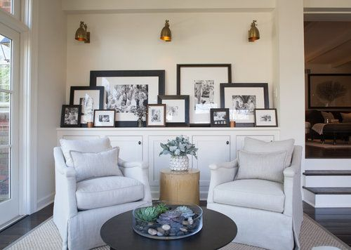 black and white, sconces, leaning art  © Julie Wage Ross for Sean Anderson Design @seanandersondesign