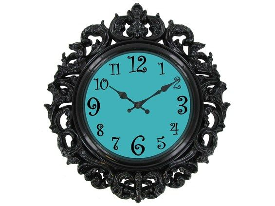 Black & Turquoise Victorian Style Wall Clock. I think this may be the winner!