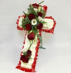 Free Standing 2ft Cross Red and White hand delivered to Local Funeral Directors through out Manchester , Salford , Eccles , Irlam , Cadishead , urmston , Trafford