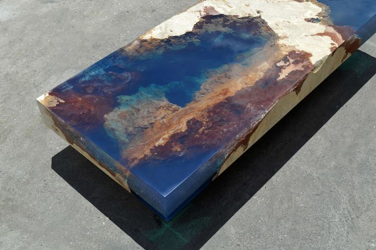 Ocean Coffee Tables That I Made By Merging Natural Stone And Resin | Bored Panda