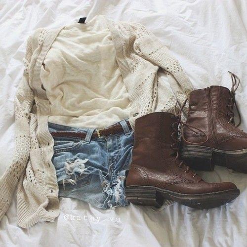 Combat boots/ cutoff shorts /long knit cardigan