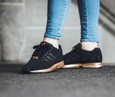 323b9c086 WOMENS ADIDAS ZX FLUX CORE BLACK COPPER ROSE GOLD BRONZE S78977 LIMITED  EDITION