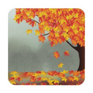 Autumn falling leaves drink coasters