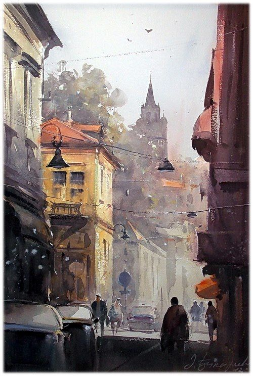 """""""Morning in Zemun"""" by Dusan Djukaric who is a very respected and esteemed master of watercolor painting. - Serbia"""