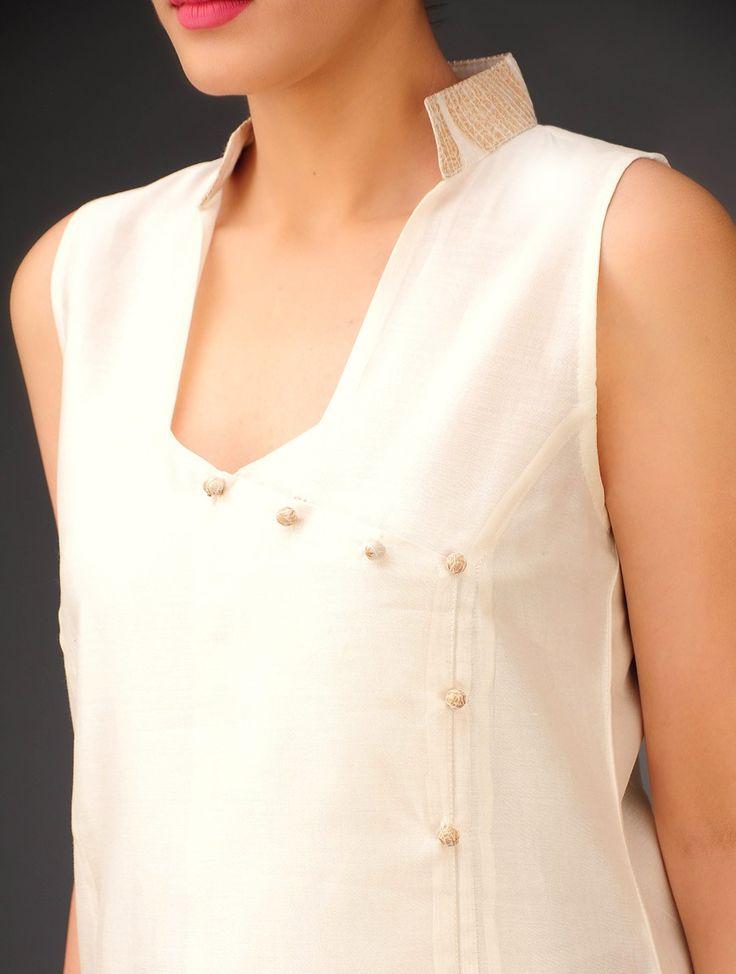 Buy Cream-Bronze Chanderi Angrakha Paisley Sleeveless Kurta Online at Jaypore.com