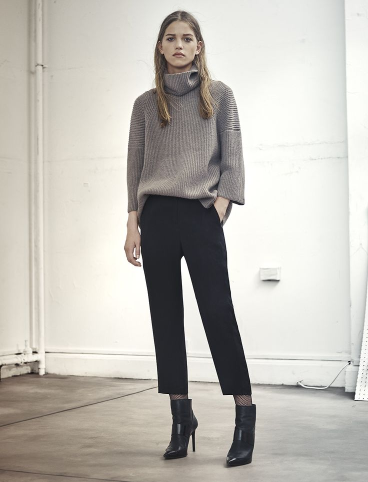 AllSaints Women's October Lookbook Look 2: Jago Roll Neck Jumper, Arya Trousers, Xavier Heel Boot.