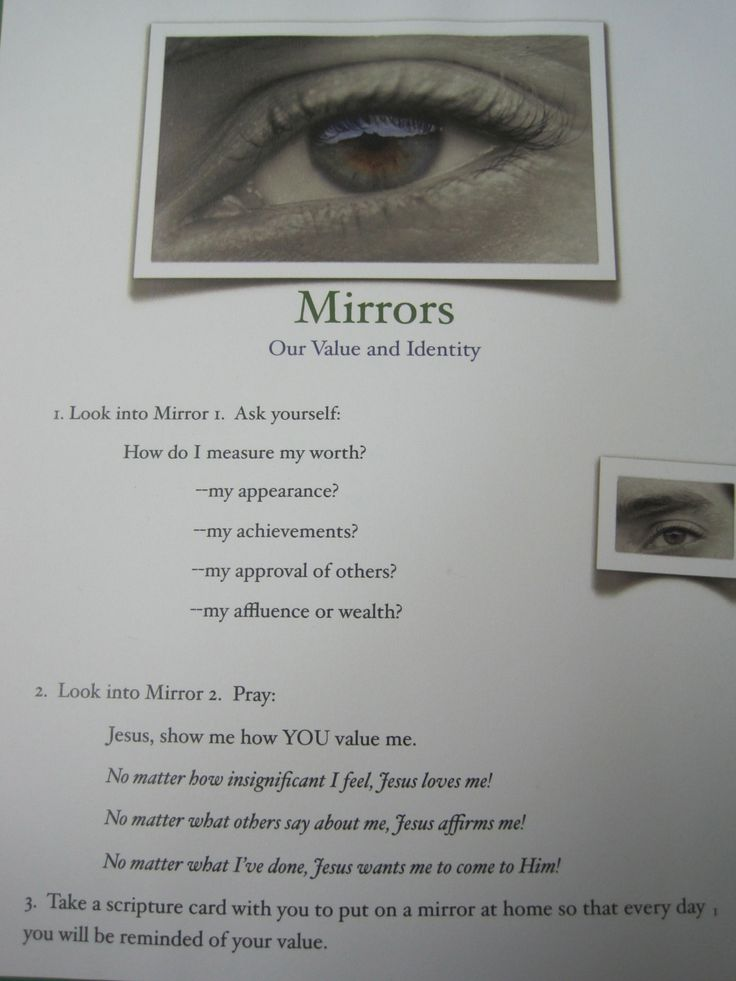 Mirrors prayer station from Sacred Space p. 72