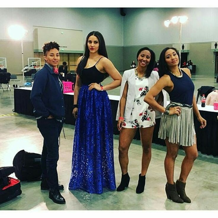 #StylenspirationSpotlight  Women of the WMBA: star athlete Natalie Achonwa [seen with her teammates] spotted in #Stylenspire Maxi Tulle Skirt.