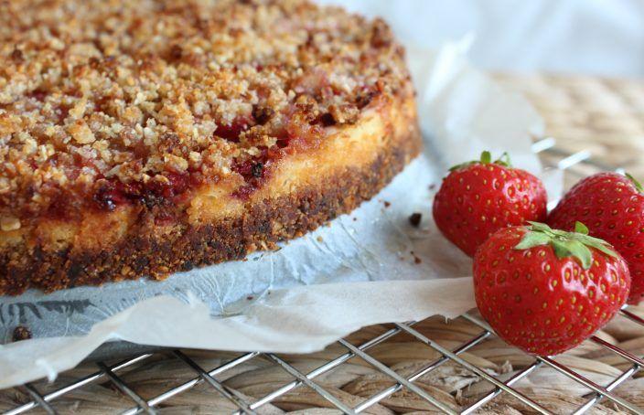Aardbeien Kruimeltaart (glutenvrij, zonder geraffineerde suikers)
