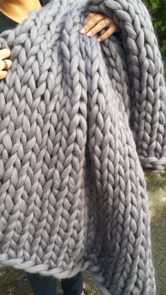 SALE Chunky Knit blanket Wool knit blanket by NataHomeandFashion