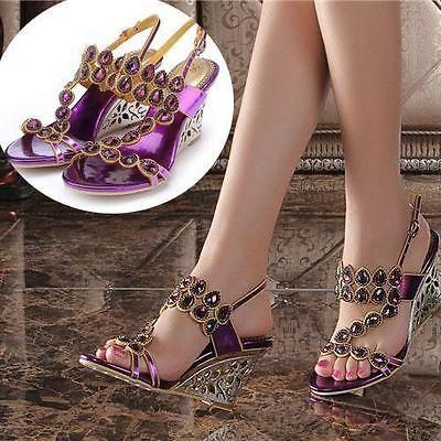 Vestido de Fiesta Boda Novia Chic Mujer con estrás tacón alto Zapatos de la sandalia Plus