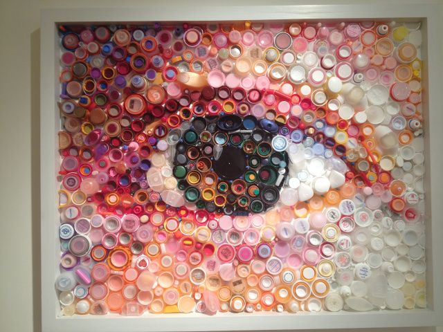 Plastic art by Mary Ellen Croteau. Made with plastic marine debris...
