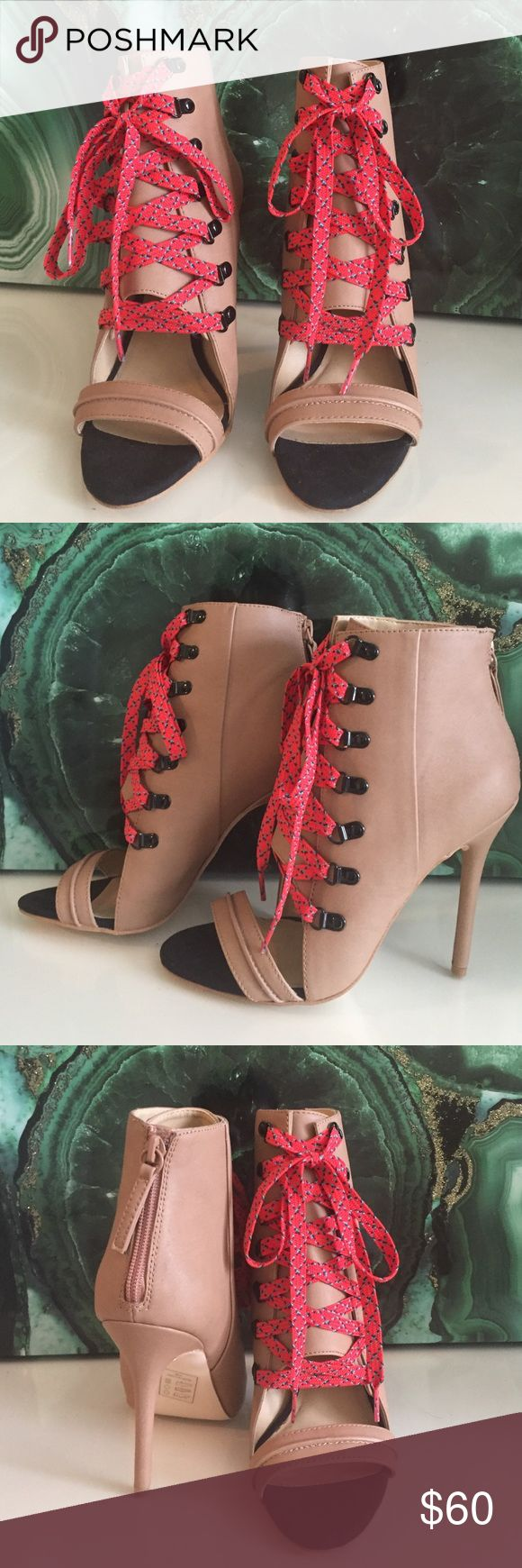GX by Gwen Staffani Heels Nude Open Toed laced up booties with orangey-red laces. New, never worn, very comfortable. Very sexy and eye catching. I love these shoes so much but I never get to wear them! GX by Gwen Stefani Shoes Heels