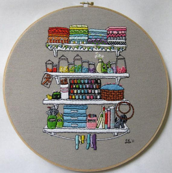 Crafting shelves embroidery pattern by thistinyexistence - very very pretty!