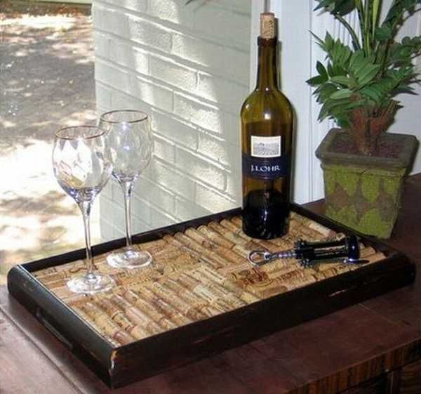 serving tray made with wine bottle stoppers