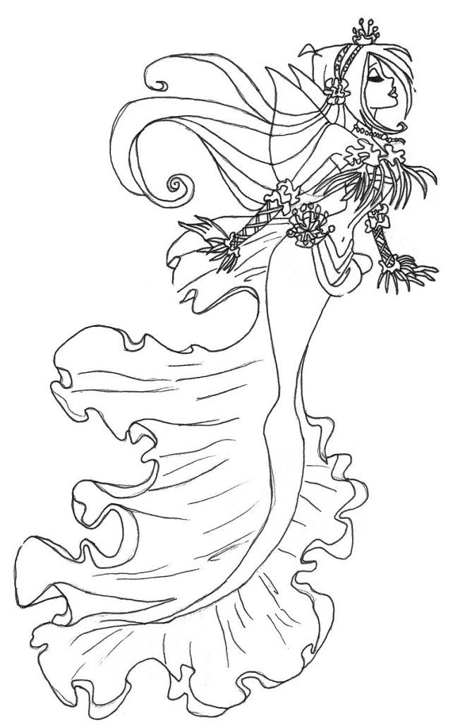 Gothic Fairy Coloring Pages Fairy Coloring Pages Mermaid