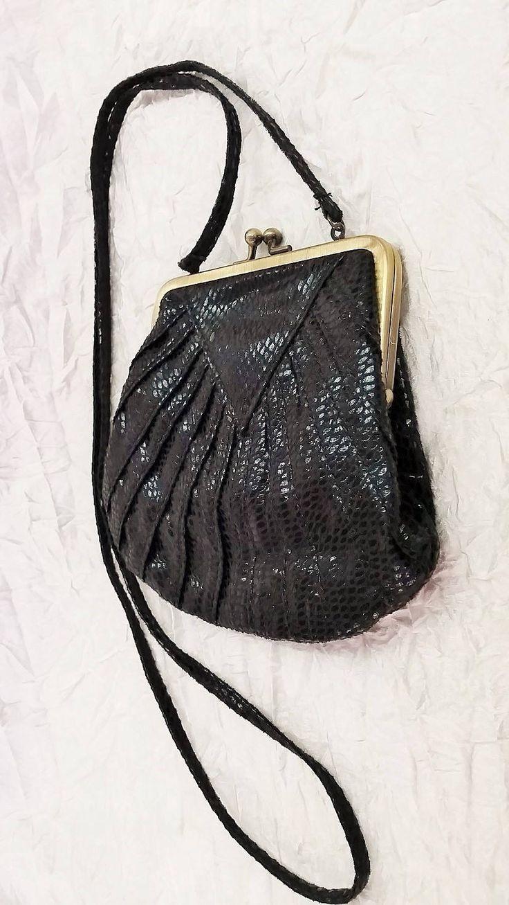Small Evening Purse, Prom Bag, Black Faux Snakeskin Reticule, Sportsgirl Australia