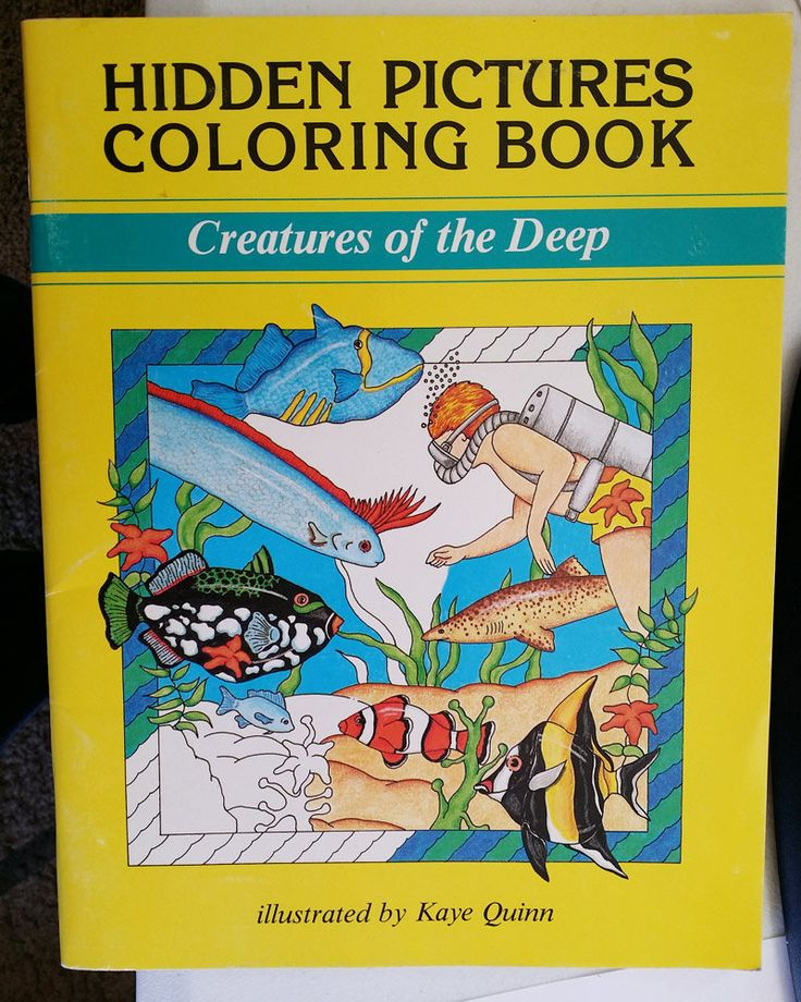 Vintage Childrens Coloring Book Sealife Animals Creatures Of The Deep Hidden Pic