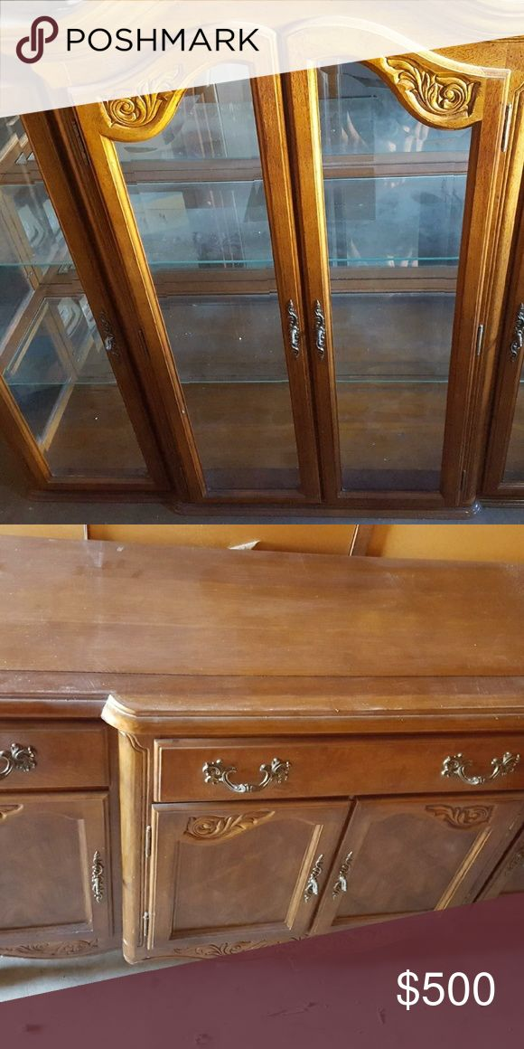 Solid Oak China Cabinet with Hutch 2 pieces China Cabinet with Hutch has a light inside cabinet wickes  furniture Other