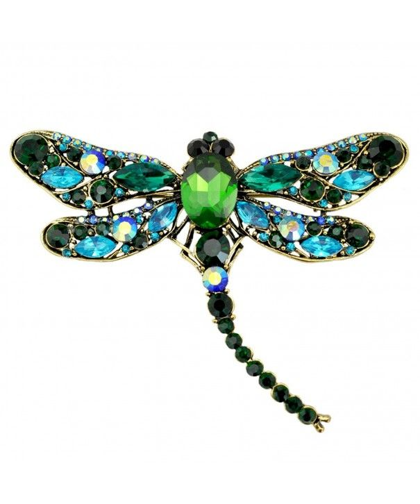 3b01122fd8091 Blue Green Dragonfly Big Large 3in Statement Brooch Pin Antique Gold ...