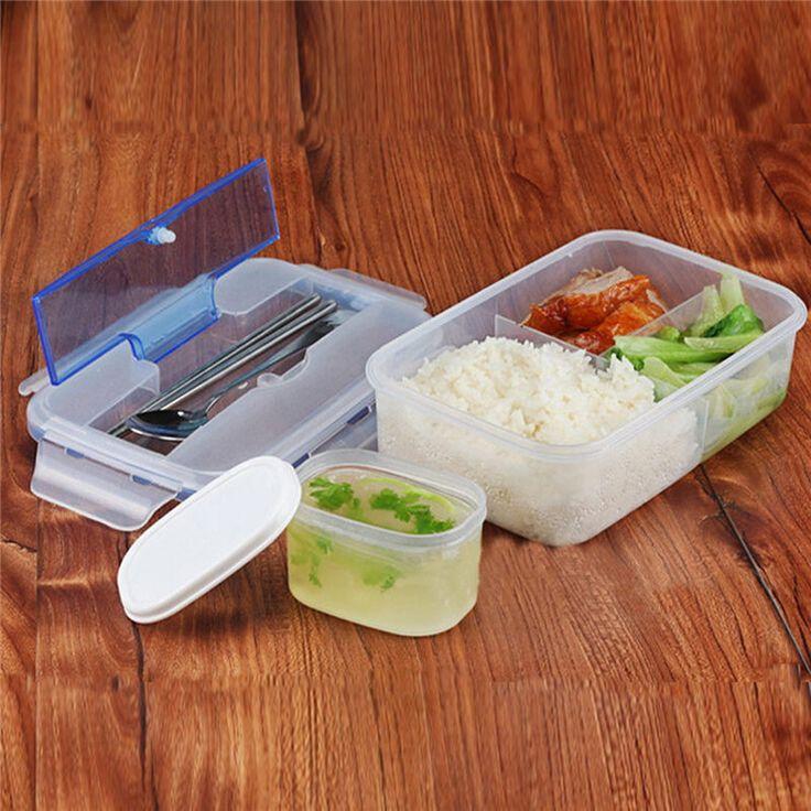 Conveninet Современный Экологично Открытый Портативный Микроволновая Lunch Box с Soup Bowl Палочки Для Еды Ложка Пищевые Контейнеры 1000 мл купить на AliExpress