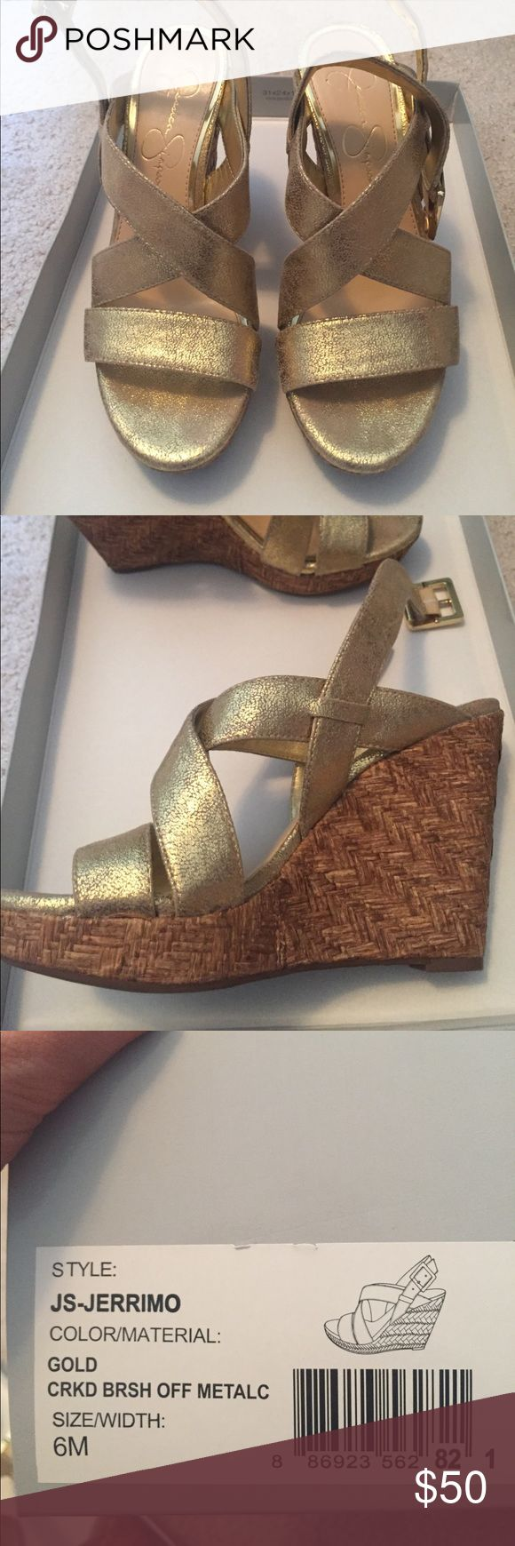 Jessica Simpson gold jerrimo wedges In great condition, only worn a number of times Shoes