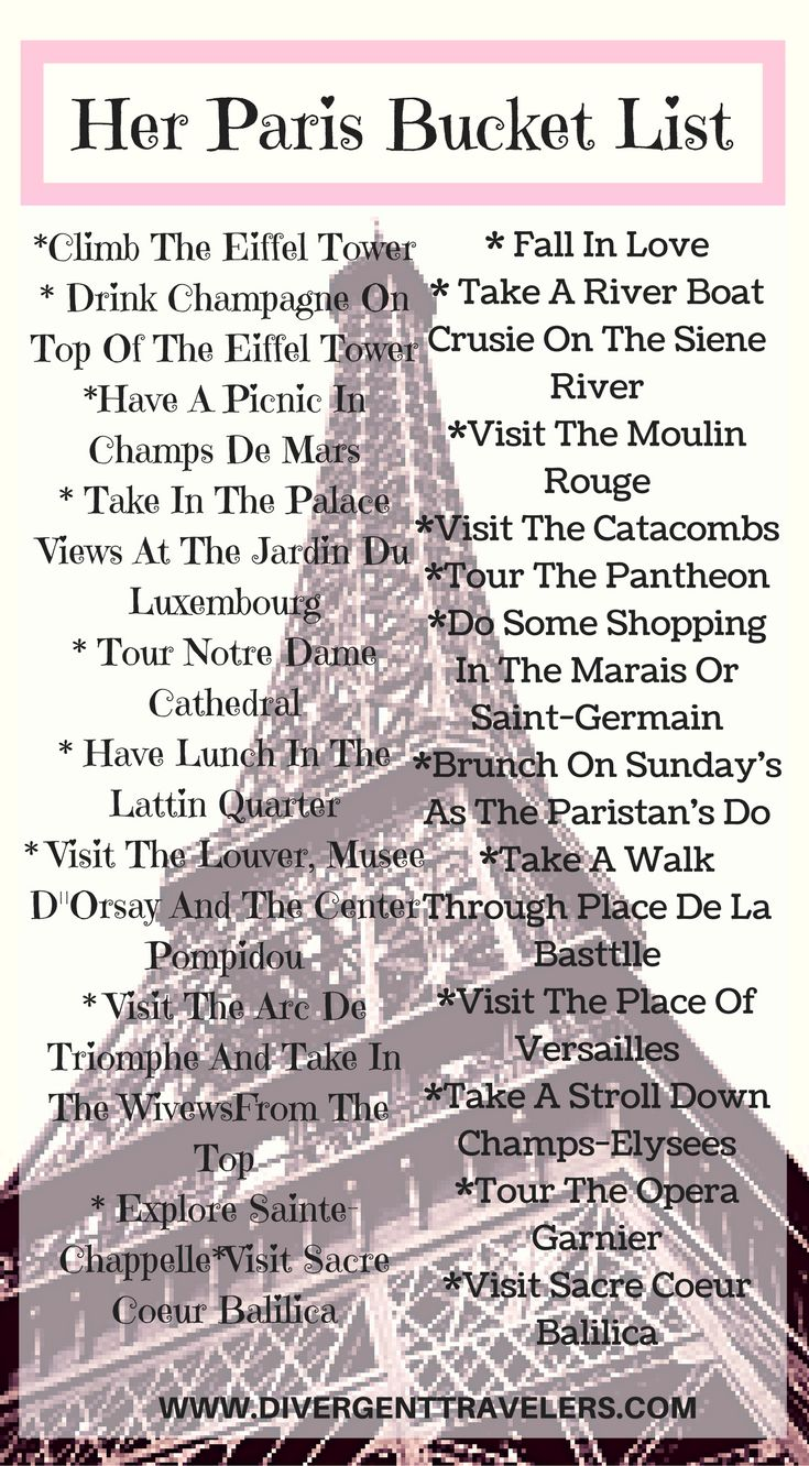 "Her Paris Bucket List. Lets start the her Paris bucket list with a climb of the Eiffel tower for a glass of champagne. Next its time to fall in love with the city of love ""Paris"" Click to read more at http://www.divergenttravelers.com/long-weekend-in-paris/"