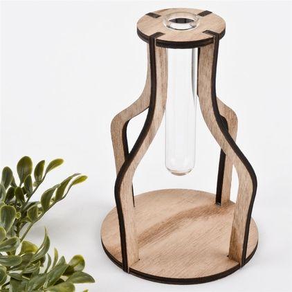 Vase Reagenzglas Design Holz-Glas 15x12x12cm natur