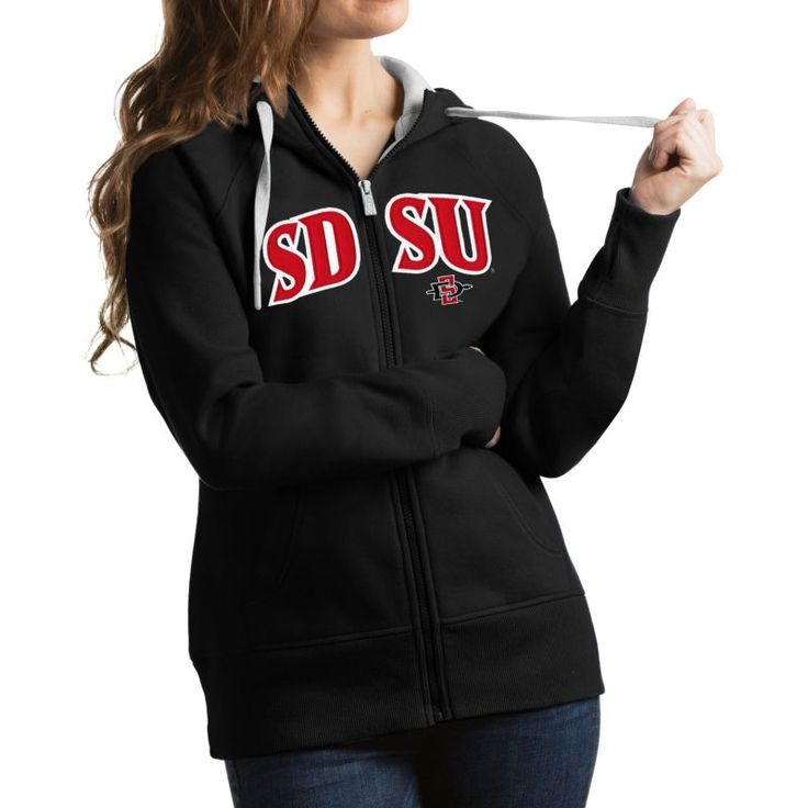 Antigua Women's San Diego State Aztecs Black Victory Full-Zip Hoodie, Size: Medium, Team