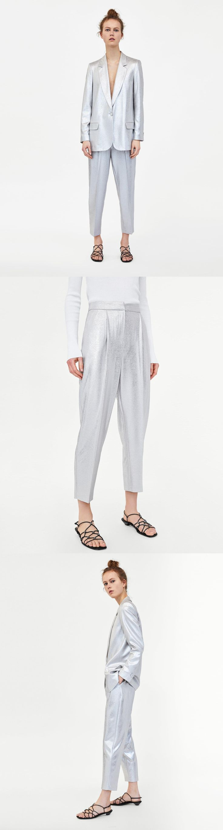 Metallic Trousers // 49.90 USD // Zara // Flowing mid-rise trousers with pleated front detail. Front pockets and welt pockets in the back. Metal zip, inside button and hook fastening in the front. HEIGHT OF MODEL: 178 CM / 5′ 10″