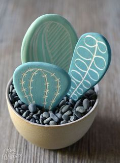 DIY painted rock cactus garden                                                                                                                                                     More