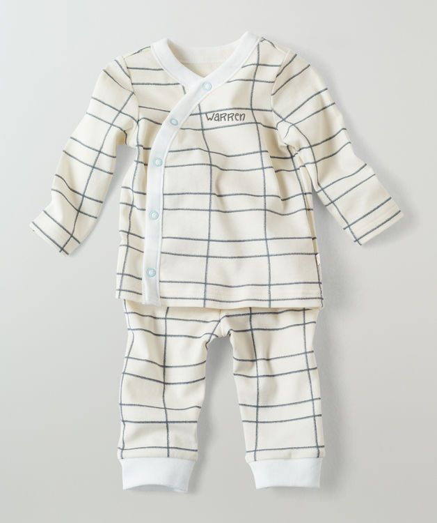 Personalized Infant Pajamas Ivory Checkerboard