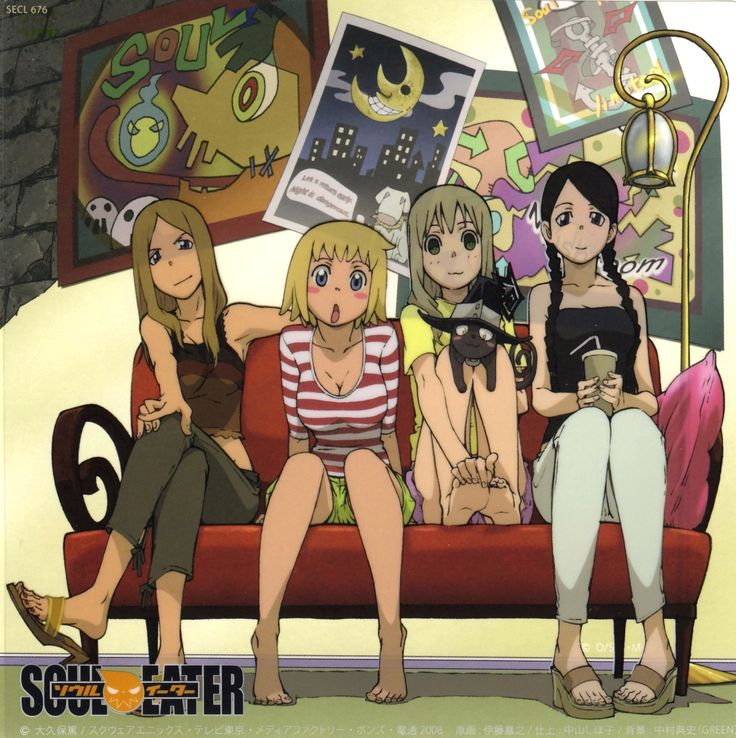 Soul Eater (from right to left):  Tsubaki Nakatsukasa, Maka Albarn, Blair, Patty Thompson, Liz Thompson. :3