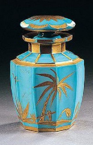 A South Bohemian gilt `Chinoiserie' turquoise-blue flask and stopper, probably...