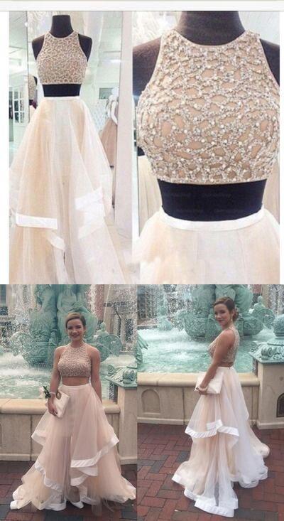 2 pieces prom dress, 2017 prom dress, Long prom dress, cheap prom dress, prom dress shop