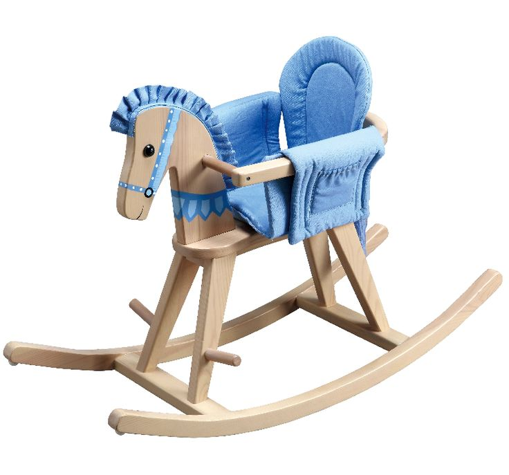 Teamson Kids- Safari Natural Rocking Horse w/Blue Pad-TD-0002A