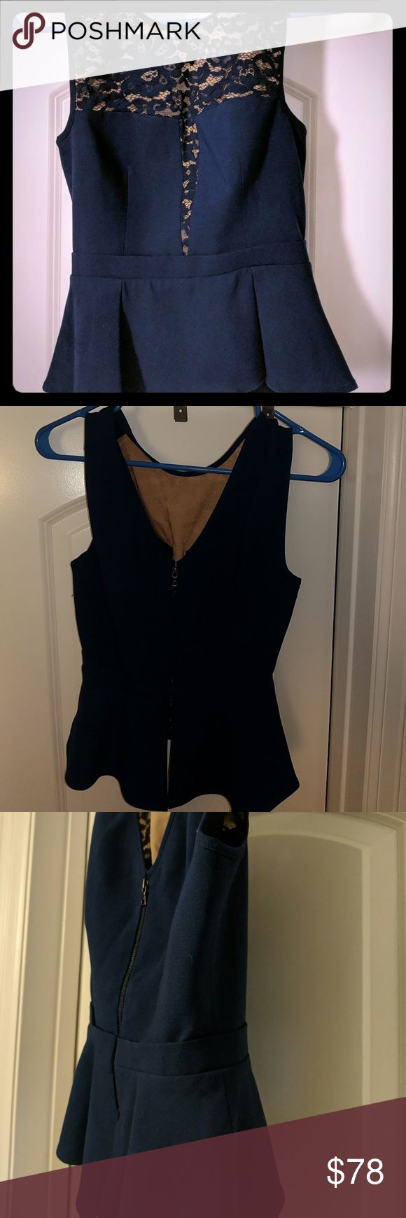 BCBG blouse Blue blouse. V-neck back. Zips up in back. Tighter on top with loose pleated bottom. BCBGMaxAzria Tops Blouses