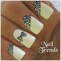 Leopard Nail Decal. 20 Vinyl Stickers Nail Art