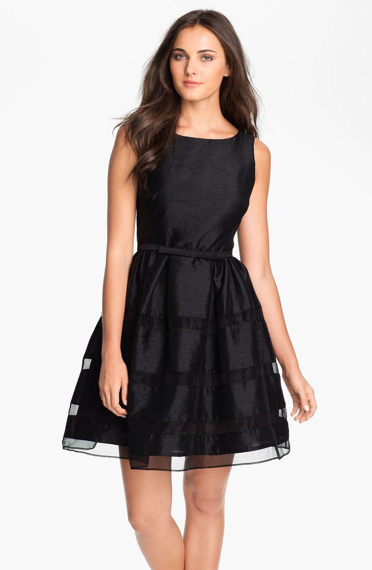 Taylor Dresses Tonal Stripe Fit & Flare Dress | Nordstrom