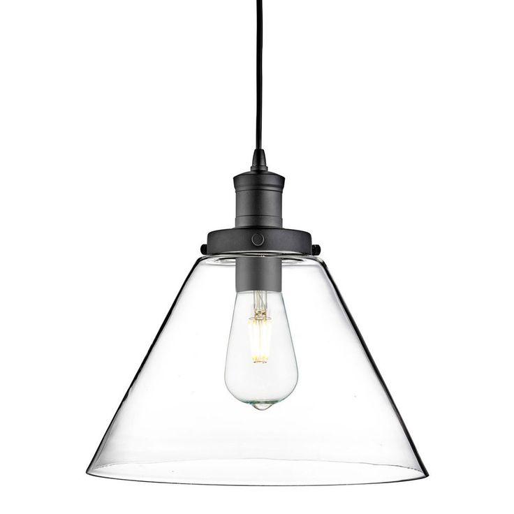 Searchlight 3228BK Pyramid Matt Black Pendant Light With Clear Glass Shade From Dushka Ltd