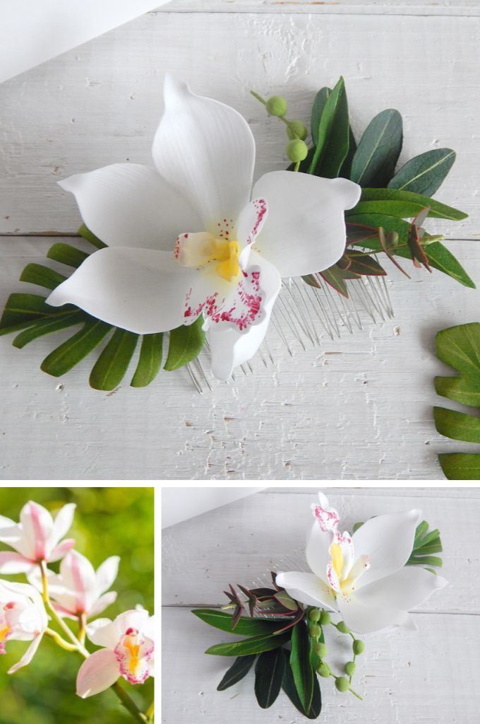 Hawaii Hair White Orchid Flower Tropical Headpiece Orchid Hair Comb Floral Hair Clip Monstera Leaf Olive Leaves Hair Floral Hair Clip White Orchids Flowers In Hair
