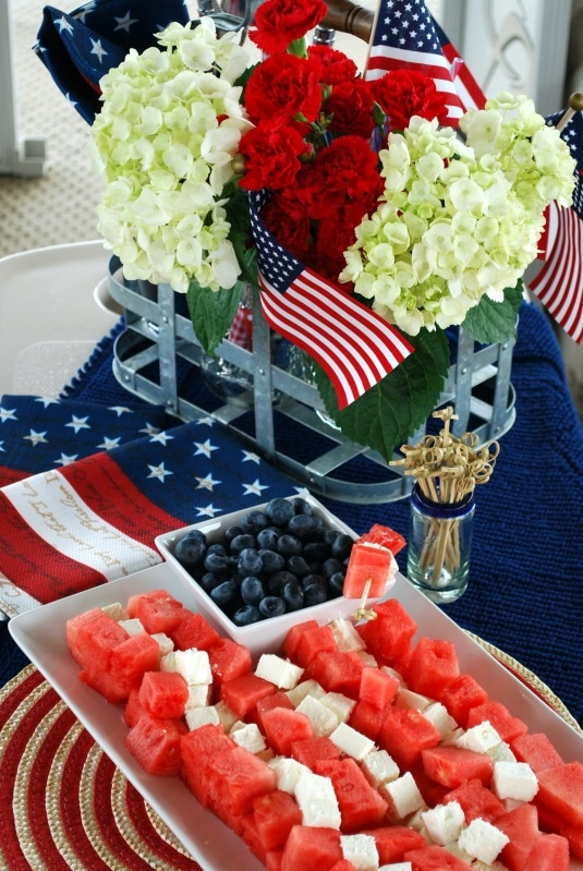 Adorable 4th of July appetizer display of feta & watermelon (and blueberries)