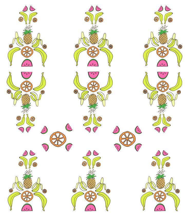 Rosa van der Horst, Tutti  fruity baroque print. #print #pattern #fruits #illustration