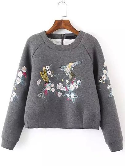 Grey Round Neck Bird Embroidered Crop Sweatshirt -SheIn(Sheinside)